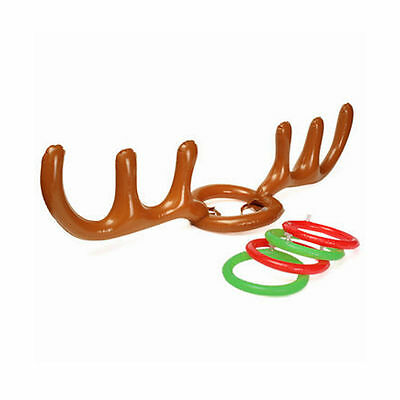 Holiday Party Game INFLATABLE REINDEER ANTLER HAT RING TOSS KIDS CHRISTMAS