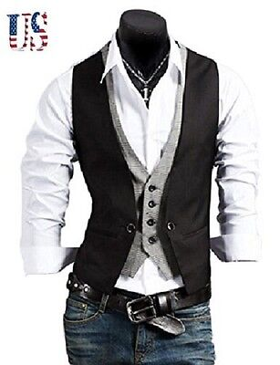Stylish Men Casual Slim Fit Vest Suit Tops Jacket Business Formal Vest Waistcoat