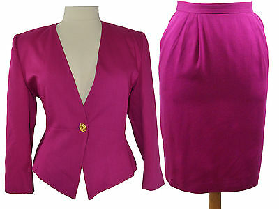 Pappagallo Brand Fits Size 12/14 Vintage Pink Suit Blazer and Skirt with Pockets