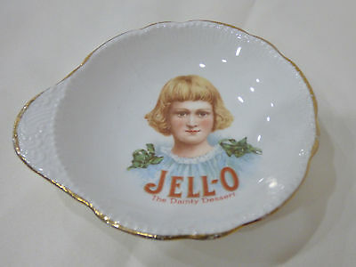 """Early 1900's JELL-O GIRL Advertising Dish Very Rare Version 4"""" A Beauty"""