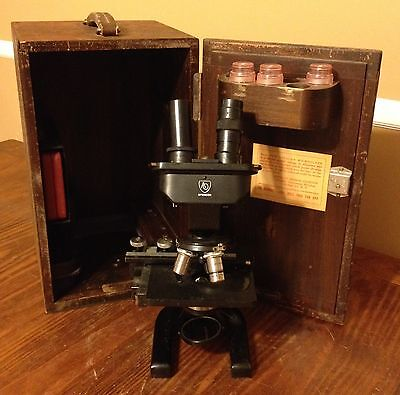 Spencer A0 American Optical Vintage Microscope Wooden Case Accessories US Navy