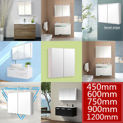 ACA 1200 900 750 600mm Bathroom Vanity Shaving Mirror Cabinet Pencil Bevel Edge