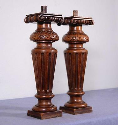 "*13"" Pair of French Antique Walnut Posts Pillars Architectural Columns Balusters"