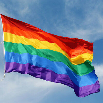 90 x 150 cm Rainbow Flag Polyester for Lesbian Gay Bisexual Transgender AO