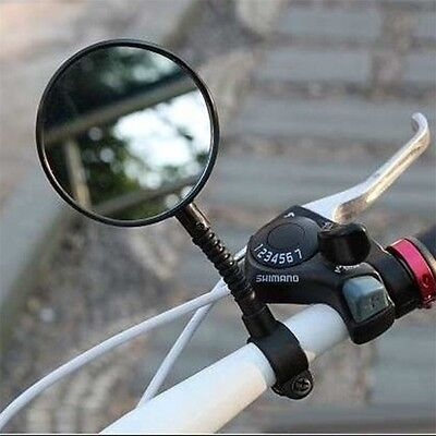 1pc Bike Bicycle Handlebar Flexible Rear Back View Rearview Mirror Black AO