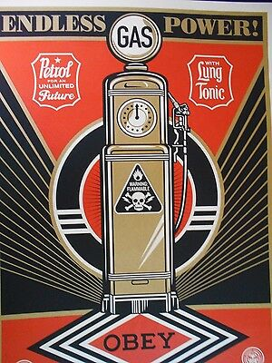 """Shepard Fairey Obey Giant """" Endless Power """"  Signed 2013"""