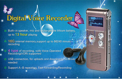 16GB Rechargeable Digital Audio Voice Recorder USB Dictaphone WAV PC MP3 Player