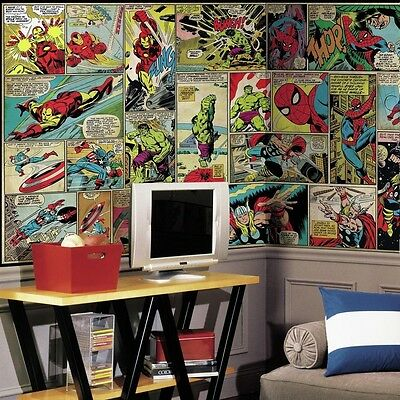 Marvel Comic Panel XL Chair Rail 7-Panel Wall Decal Home Decor Classic Indoor