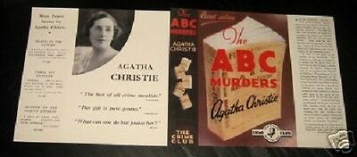 THE A B C MURDERS - 1936 by Agatha Christie - Facsimile Dustjacket Only