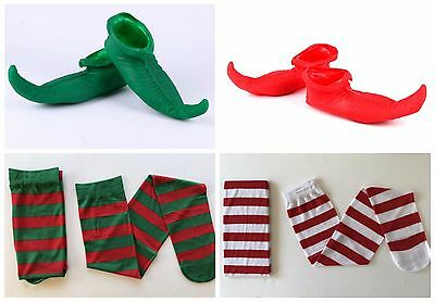 Christmas Elf Shoes Latex Boots Red Green Xmas Stripe Stockings Costume Party