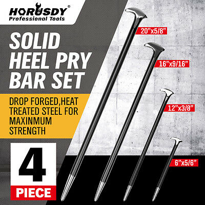 4 Pc Solid Steel Pry Bar Set Rolled Heel Prying Pinch Lever Bars Heavy Duty New