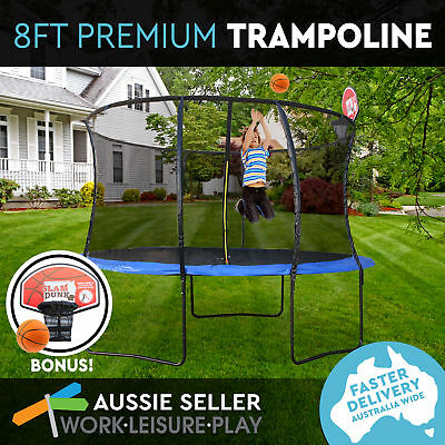 8ft 244cm Round Trampoline Safety Net Spring Pad Cover Mat Ladder Basketball Kid