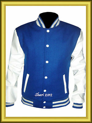 Varsity Letterman Royel Blue Wool Jacket with White Leather Sleeves XS TO 4XL