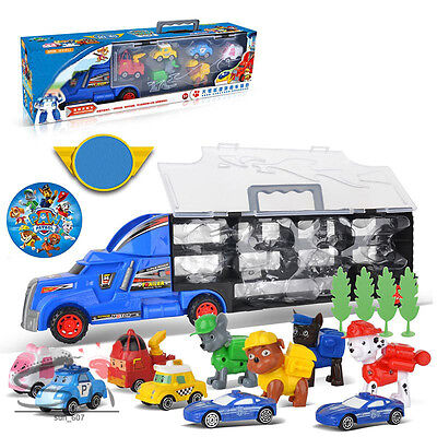 New Paw Patrol Truck Character 10Pcs Action Figure Car Parking Lot Kids Toy Gift