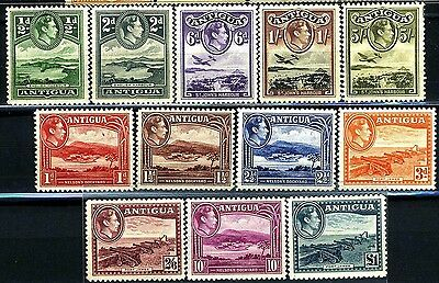 ANTIGUA, GB, SC84~95 (12) CplSet, 1938 GVI Def. to 1 Pd Scenic. MNH-LH