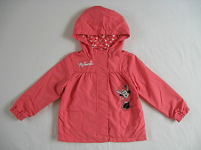 BNWT Disney Girls Coral Minnie Mouse Coat Jacket With Hood 18-24 Mon 2-3 Years