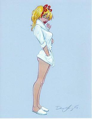 "MANDY ""RISQUE WHITE ROBE"" Art Print Signed by DEAN YEAGLE - 8-1/2"" x 11"""