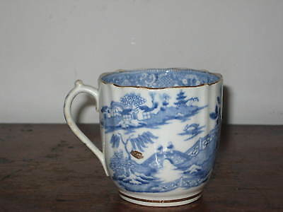 English Antique Blue & White Coffee Cup Oriental Scene 19Th C