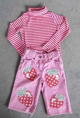 Mini Boden Pink Trousers & Striped Top Outfit Age 3 - 4 (Top is BN)