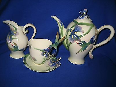 Franz Porcelain  Hummingbird Iris Tea Set