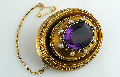 Fine Antique Georgian Yellow Gold Amethyst & Pearl Mourning Hair Brooch