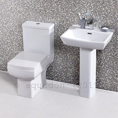Square White Toilet Pan Cistern WC Modern Bathroom 4 Piece Suite Soft Close Seat