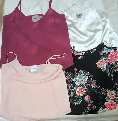 Lot of 4 Women's ASOS NEW LOOK Petite Woven Cami Spaghetti Strap V Neck Size 8