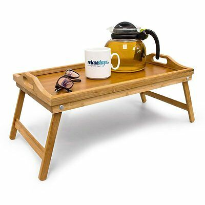 Lightweight Natural Wooden Bamboo Bed Side Serving Lap Tray Table Folding Legs
