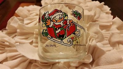 Vintage Garfield Christmas Glass 1978 With Odie