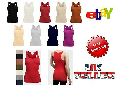 New Womens T Shirt Top Vest Bodycon Racer Back Sleeveless Muscle Vest Ladies Gym