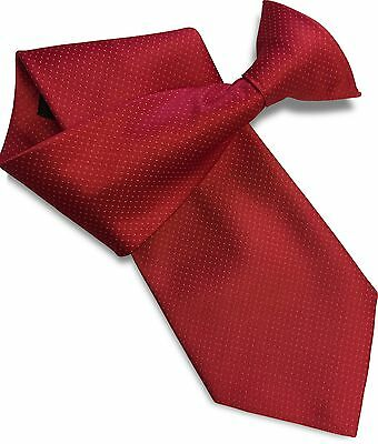 Red with White Dots Satin (Not Silk) Clipper Clip On Snapper Uniform Tie