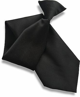 Black with Red Dots Satin (Not Silk) Clipper Clip On Snapper Uniform Tie
