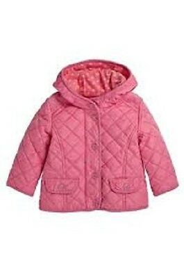 BNWT NEXT Girls Pink Quilted Fleece Lined Coat Jacket Wiv Hood 18-24 M 2-3