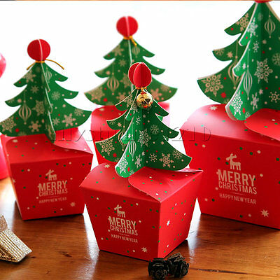 5/10X Merry Christmas Tree Bell Party Paper Favour Gift Sweets Carrier Bag Boxes