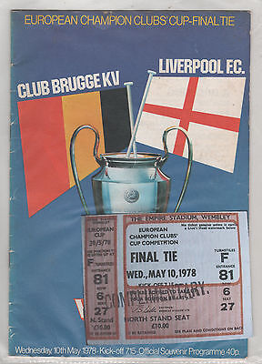 1978 European Cup Final Club Brugge v Liverpool (programme/ticket)