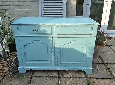 French Vintage Antique Dresser Base/Cupboard Farrow & Ball Blue Ground