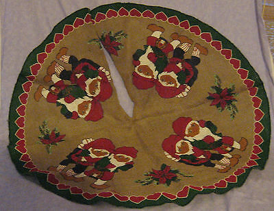 "Cute Elf Elves Gnomes W/ Poinsettias Burlap Christmas Tree Skirt 38""  NWOT"