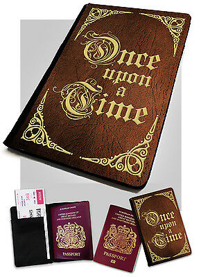 Once upon a Time V2 -Printed Faux Leather Passport Holder Cover Case Book Fairy