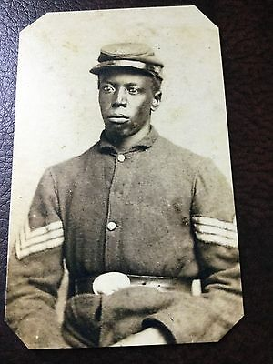 Civil War African American Union Soldier  TinType C697NP