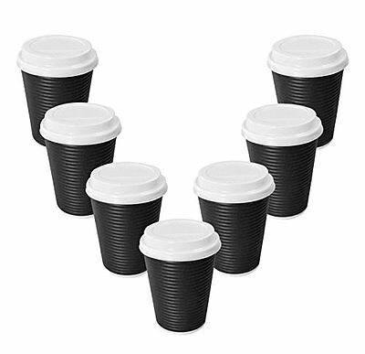 Black Eco-friendly Paper Hot Coffee Cup with Cappuccino Lids,ripple and Cups,12
