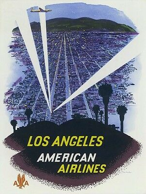 VINTAGE AMERICAN AIRLINES 'LOS ANGELES' ADVERTISEMENT - quality glossy A4 print