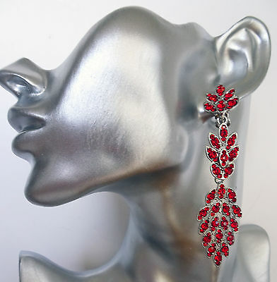 Long Leaf Design Chandelier CLIP ON Red Crystal Earrings in Dark Silver Tone