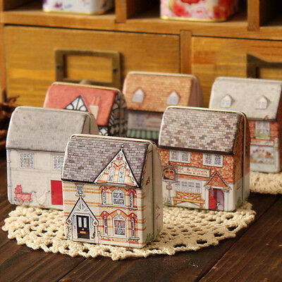 Mini Small House Handbag Tin Storage Bag Case Iron Jewelry Box Tin Decor Gift
