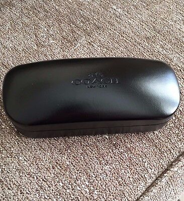 Coach Black Leather Sunglass Case with Cleaning Cloth