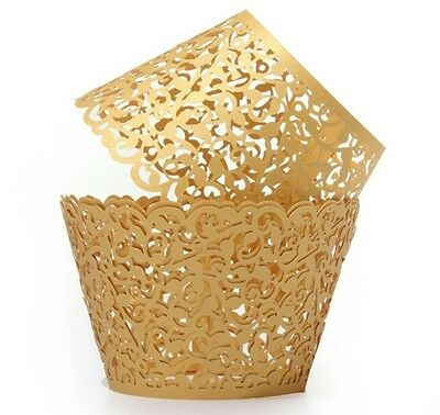 50x GOLD PEARLISED FILIGREE CUPCAKE WRAPPERS / SHOWER/ WEDDING/ BIRTHDAY PARTY