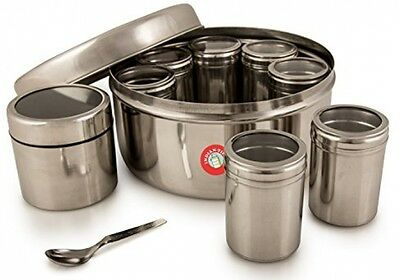 Authentic Indian Masala Dabba Spice Box With Airtight Lids (steel Lid)