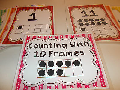 21 Numbers 1-20 Laminated Counting with Ten Frame Posters. Classroom Posters.