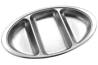 """14"""" Oval Vegetable Stainless Steel Dish 3 Divided Catering Serving Plate"""