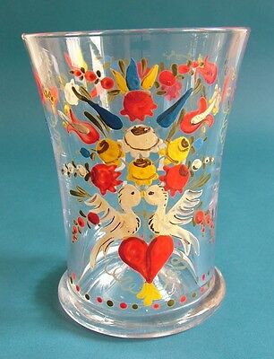 Early 20th Century French Glass Vase with Enamelled Kissing Doves and Flowers