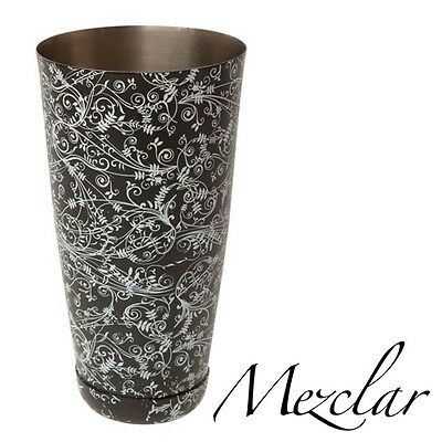 "Coctelera Boston ""Mezclar"" floral negro 28oz, Black Patterned Boston Can"